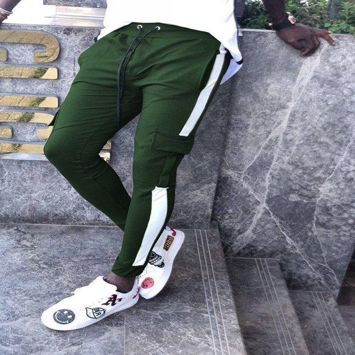 『潮范』  N4 爆款歐美休閒運動褲 男士收口束腳褲 貼條口袋休閑長褲 休閒褲