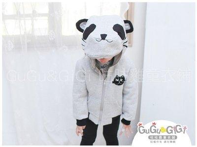 ~RB2120921~ 款~貓熊 帽黑貓貼布灰色外套 199