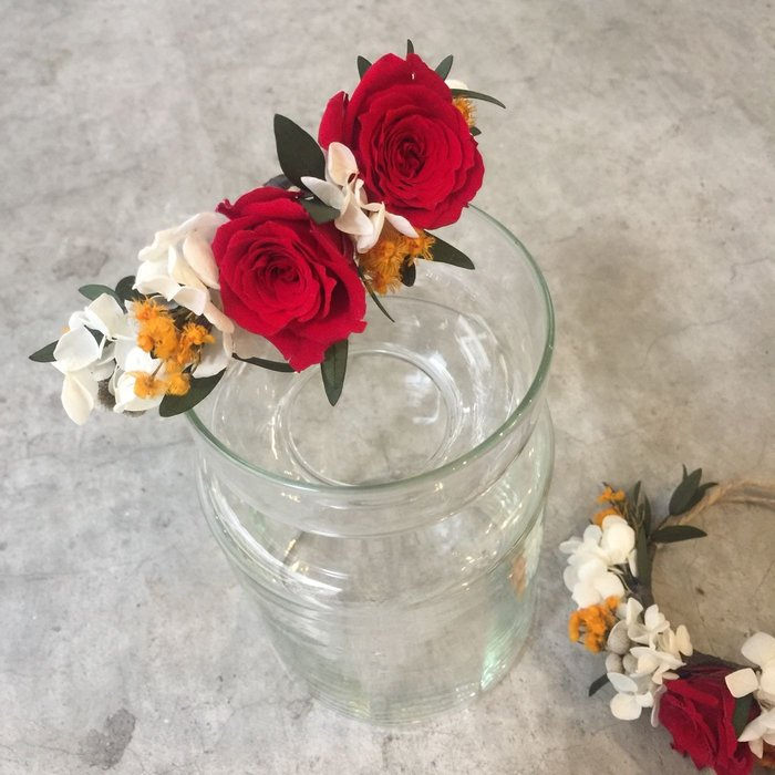 D97。紅色系永生花+乾燥手花。台北歡迎自取。西門【Flower&House花藝之家】