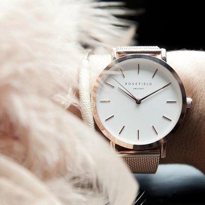 【Rosefield】紐約時尚手錶女錶現貨,首賣特價85折,玫瑰金金屬鍊條錶帶,錶面38mm可用於Cluse,保證正品