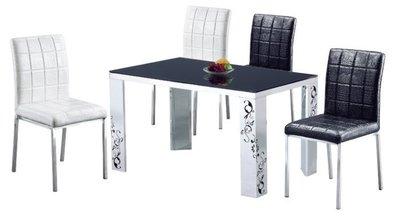 【龍來家具】大降價出清16B黑玻4.45尺餐桌~台北桃園市區免運費