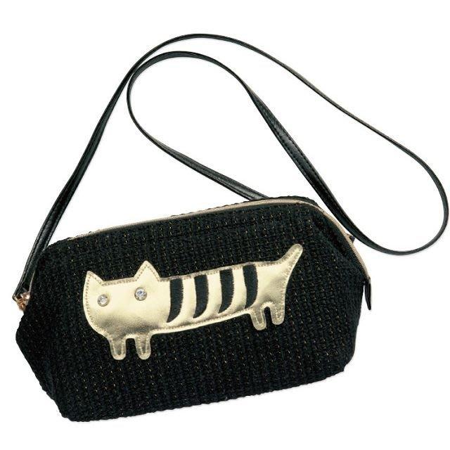 │遇見。小舖│B70124日雜附錄 TSUMORI CHISATO 津森千里 貓咪 編織質感 側肩包 手拿包化妝包