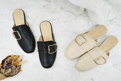 富發牌。女鞋。1PE82 巴黎鐵塔女孩穆勒鞋 (杏/黑)(23-26號)~nanakids娜娜童櫥