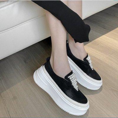 Fashion*樂福鞋~珍珠羊皮厚底鞋...