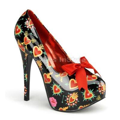 Shoes InStyle《五吋》美國品牌 PIN UP CONTURE 原廠正品聖心漆皮厚底高跟包鞋 出清『紅黑色』