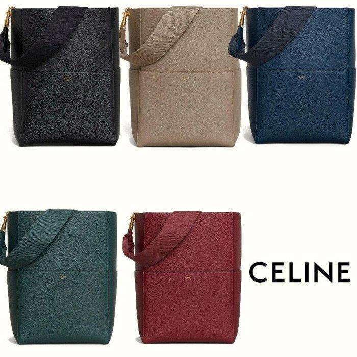 CELINE ► ( 大款 ) SANGLE  寬背帶 防刮壓紋真皮 肩背包 斜背包 側背包|100%全新真品|  特價!
