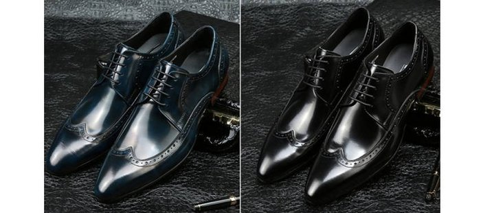 爵式英倫男牛皮商務正裝皮鞋復古雕花布洛克鞋尖頭系帶婚宴皮鞋潮