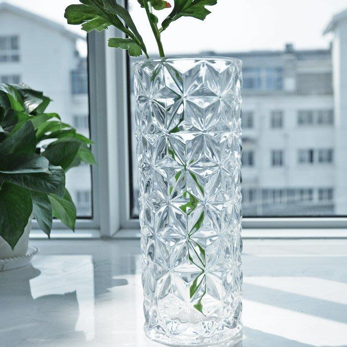 #創意 裝飾品 居家北歐簡約 時尚加厚水晶玻璃花瓶 創意富貴竹餐桌插花花瓶花器
