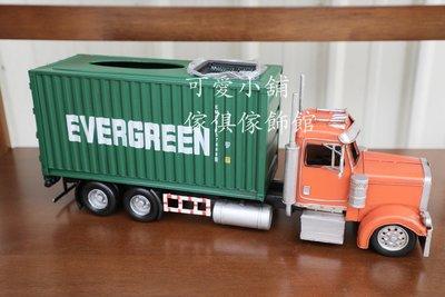 (台中 可愛小舖)美式鄉村風綠色聯結車造型面紙盒大型貨櫃車鐵藝盒子居家擺飾餐廳早餐店咖啡廳補習班辦公室髮廊