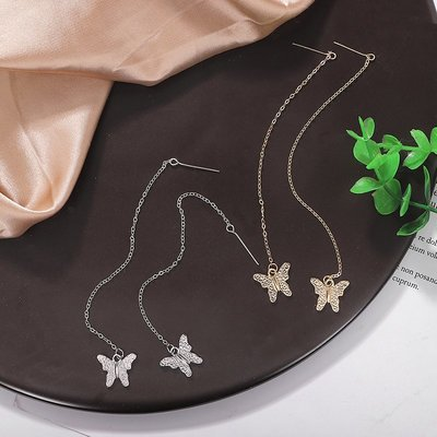 小米粒飾品~日韓國新款蝴蝶吊墜裝飾耳環簡約氣質長款鍊條耳釘bauble同款耳飾
