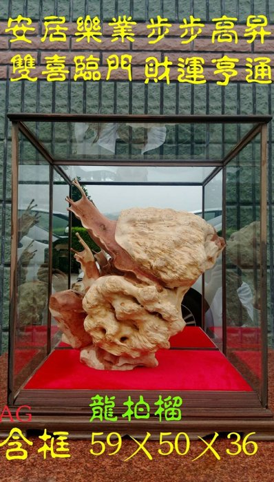 蝸牛安居樂業玻璃框.特價 42000元.龍柏材質.(旭宏木雕神像藝品批發)