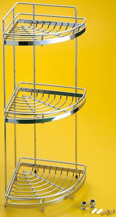 [勞倫斯衛浴生活商場] 不鏽鋼 三層轉角架 置物架 L2632  收納 *淋浴拉門、浴櫃*