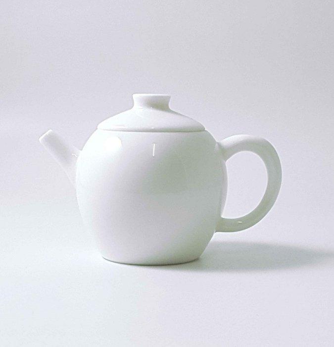 【茶嶺古道 】羊脂 玉瓷 巨輪壺/ 厚實 瓷壺 泡茶壺 純白 德化白 標準壺