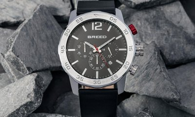 限時特價南◇2020 2月 Breed Tempe Watch 手錶 軍錶 紳士錶金屬 皮革錶帶 飛行時計 轉盤 黑銀色