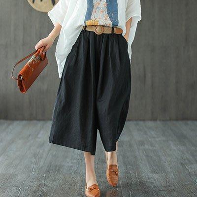 【anna shop】亞麻闊腿褲 純色亞麻七分褲 寬鬆休閒褲/2色Y620582109074