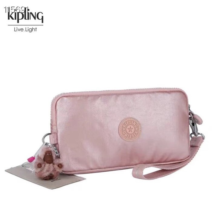 Kipling 猴子包 玫瑰金 K70109 拉鍊手掛包 零錢包 長夾 手拿包 鈔票/零錢/卡包 輕便多夾層 防水 限量