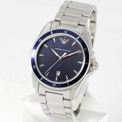 現貨 可自取 EMPORIO ARMANI AR11100 亞曼尼 手錶 44mm 藍面盤 大三針 鋼帶 男錶女錶
