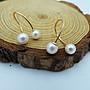 %玉承珠寶%天然珍珠14k玫瑰金珍珠鑽石U型曲線耳環PE1