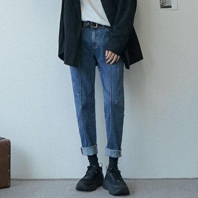 KOREALINE搖滾星球 / 線條設計反褶破壞直筒牛仔褲 / EF996427