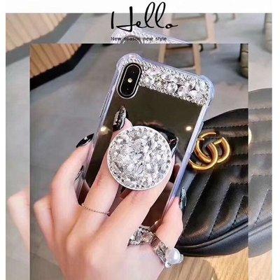 蘋果 iPhoneXS Max iPhone7 XR iPhone8 Plus 手機殼 水鑽殼 鏡面氣囊防摔殼