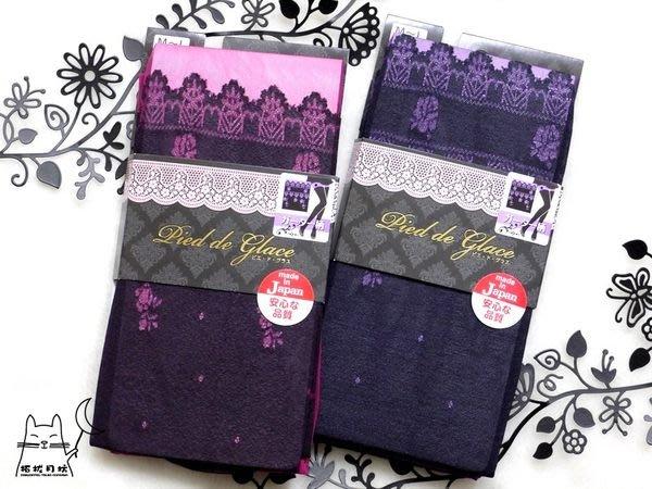【拓拔月坊】日本知名品牌 Pied de Glace 80丹 玫瑰波浪 假膝上 褲襪 日本製!現貨!
