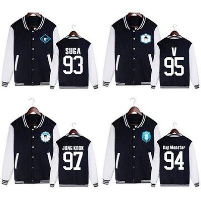[星萌][預購]S22  BTS防彈少年團二輯WINGS同款周邊田正國JIMIN開衫棒球服外套衛衣[白色字]