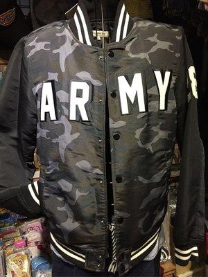 [變身館日本服飾] ~Suggestion~棒球~夾克~外套~黑迷彩~尼龍材質~ARMY~日本購入~全新現品~L~出清價