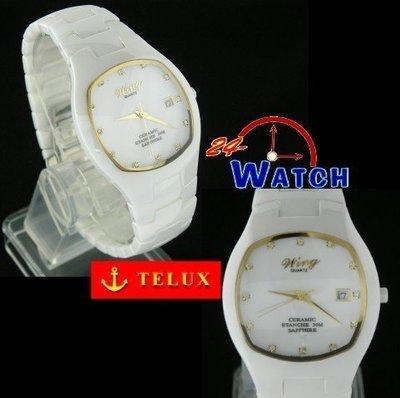 24-Watch_【TELUX鐵力士_魅力白陶瓷男錶(白)W8002】全新公司貨