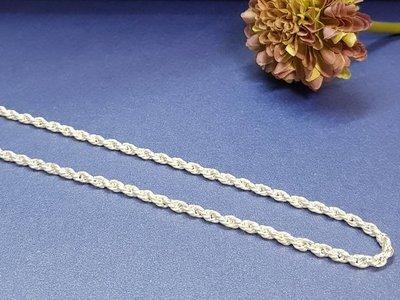 995純銀/  男款 / 2尺 / 麻花鍊 繩索 約3mm   銀鍊 銀項鍊