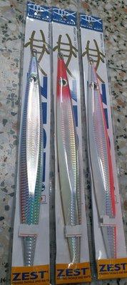 (桃園建利釣具)日本ZEST company 鮪魚 紅甘 鐵板 500g 銀、紅頭銀身、螢光粉背銀肚、