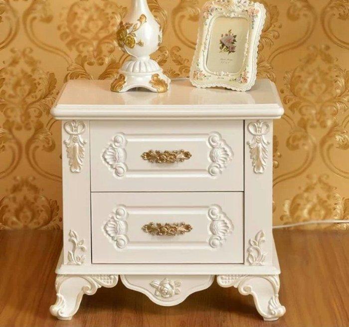 粉紅玫瑰精品屋~歐式實木床頭櫃田園象牙白色床頭櫃實木床邊櫃置物櫃~現貨