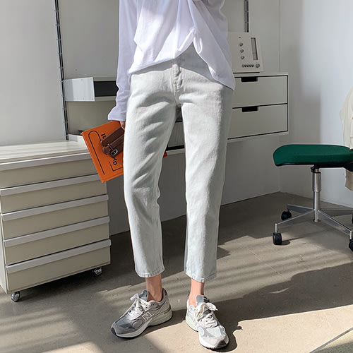 i-Mini 正韓 | 日常休閒洗舊感淺灰小直筒牛仔褲SML|‧ 韓國連線‧代購‧空運【C10072320fm】