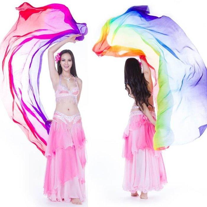 【優作坊】018_混色真絲手紗巾、肚皮舞腰巾、肚皮舞手紗巾、印度舞沙麗、雙紗舞