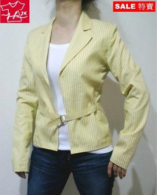美國時尚品牌 Express 外套 條紋 西裝式 春夏薄款-女款-淺黃-2號(S)【JK嚴選】LV 鬼怪