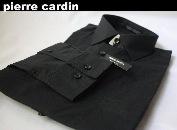 【pierre cardin】100%全新正品 長袖 素面 合身 襯衫/ 黑色*15吋~16.5吋