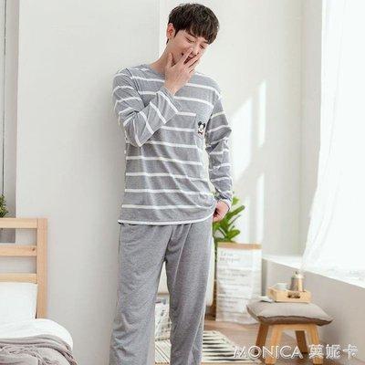 韓版情侶睡衣長袖針織棉春秋季睡衣女款男士家居服套裝