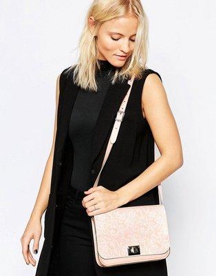 全新正品 The Leather Satchel Company Lace Print Pixie Bag 英國劍橋包 轉釦精靈包 粉紅蕾絲印花 真皮 只有一個