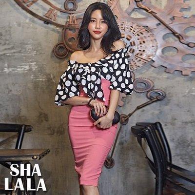 SHA LA LA 莎菈菈 韓版性感露肩一字領黑白圓點拼色顯瘦包臀連衣裙洋裝(S~XL)2019050213預購款