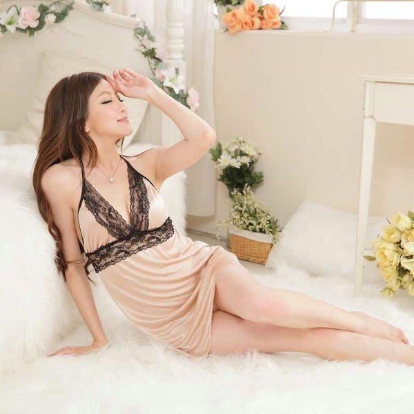 性感深V亮膚色緞面繞頸睡衣女衣閨蜜情趣內睡衣女衣