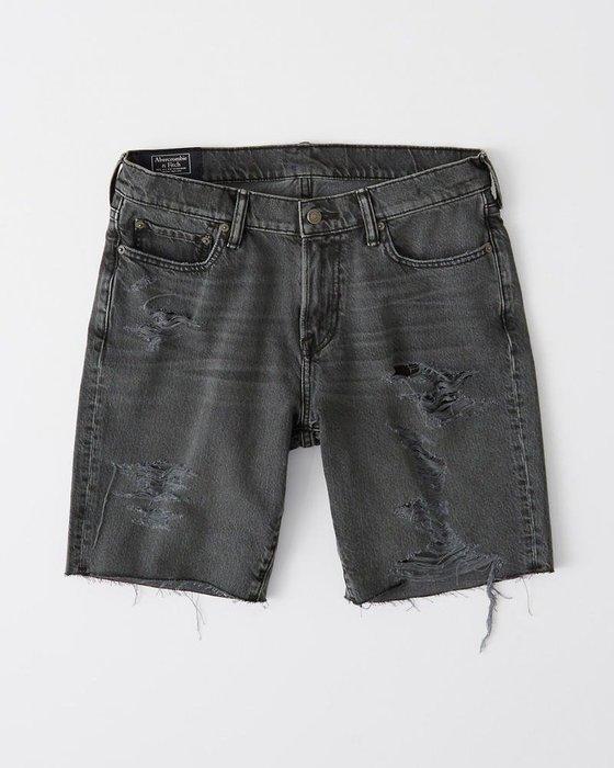 Maple麋鹿小舖 Abercrombie&Fitch * AF 灰色刷破不修邊牛仔短褲 * ( 現貨26號 )