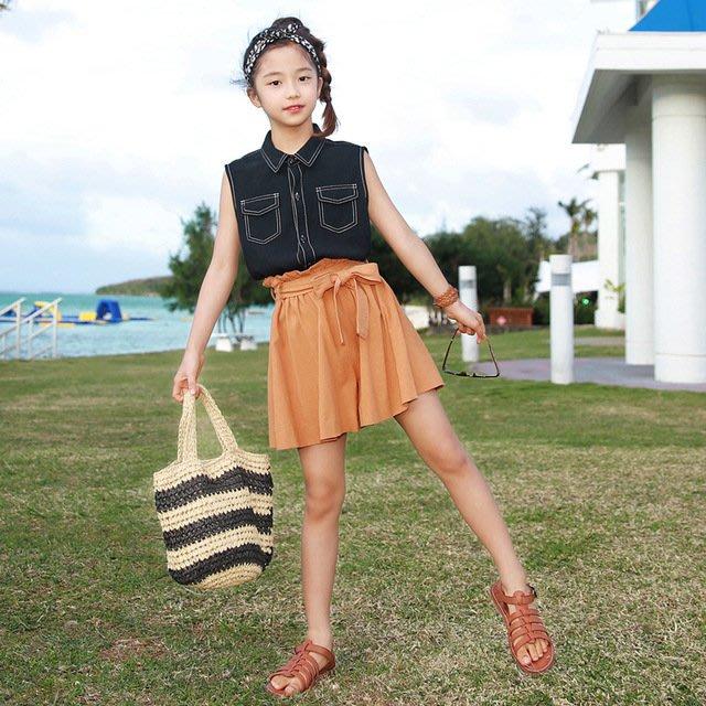 iKIDS♬2019夏季 新款 韓版 女童 中童 大童 黑色 無袖 襯衫 蝴蝶結 短裙 時尚 套裝 親子裝(預購) PO