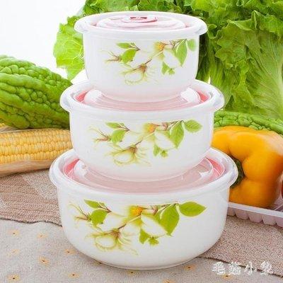 ZIHOPE 陶瓷保鮮碗套裝三件套微波爐碗保鮮盒大號密封碗餐具套裝便當飯盒ZI812