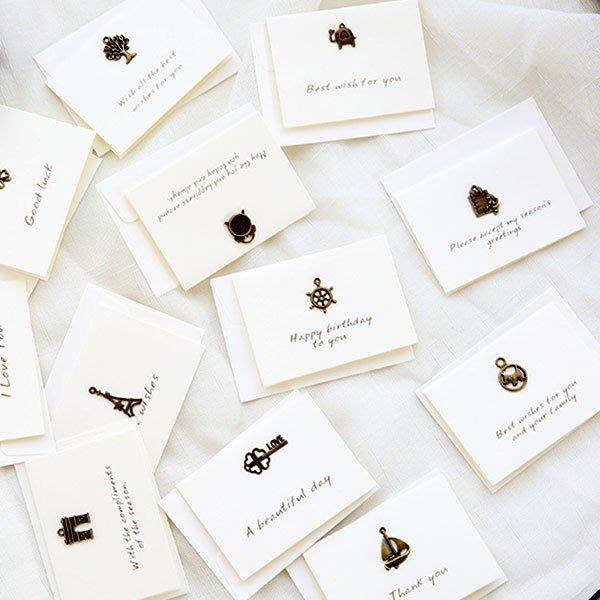 迷你復古金屬小飾品白底卡片組 【JC1727】《Jami Honey》