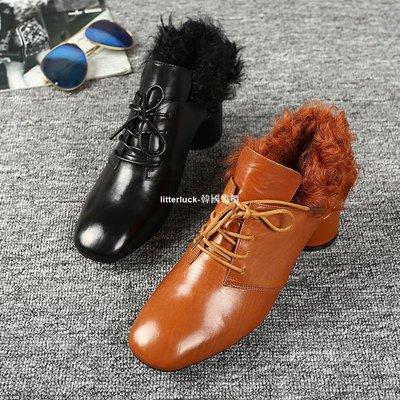 litterluck-韓國專櫃歐美2019秋冬新款時尚短靴復古方頭羊毛牛皮粗跟系帶女靴中跟踝靴