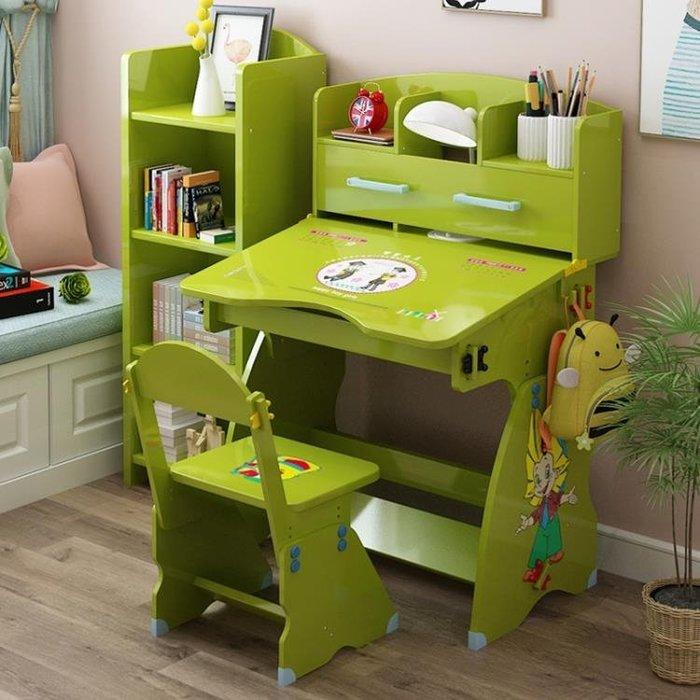 兒童學習桌椅套裝簡約女孩男孩書桌書柜組合小學生課桌寫字臺家用YS