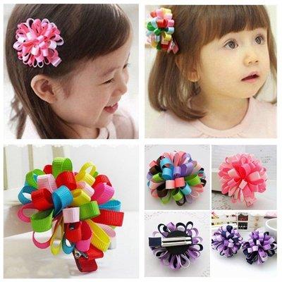 晶華屋--韓版兒童彩球髮夾 彩球鴨夾 造型髮夾 兒童髮飾 髮夾 (一入) 不挑款