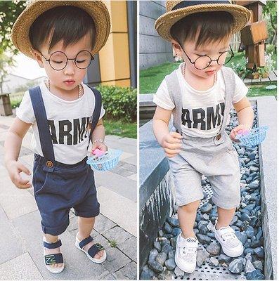 ♥【BS0156】XT-6612 韓版男童裝背帶褲套裝 2色 (白+灰 白+藍 現貨) ♥