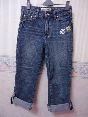 一元起標~BIGSPADE JEANS ~電繡設計七分牛仔褲~SIZE:S
