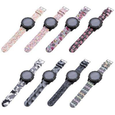 丁丁 佳明 Garmin Fenix 5 5X 5S 時尚圖騰迷彩印花智能手錶矽膠錶帶 環保材質 佩戴柔軟舒適 替換腕帶
