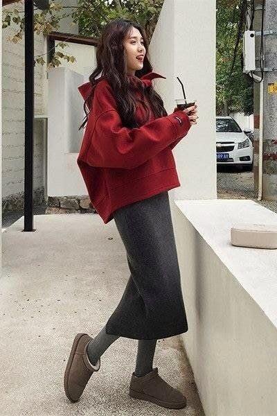 大尺碼女裝 預購 時尚小香風裙套裝 約會穿搭 OL穿搭 休閒時尚 連帽寬鬆短版上衣 長袖棉t  膝下裙 開衩長裙